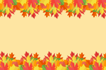 Banner with colorful autumn leaves on yellow background. Vector illustration.