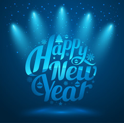 Happy New Year, lettering Greeting Card design circle text frame on blue background with spotlight. Vector illustration.