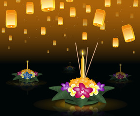 Loy Krathong 2016 greeting card and invitation. Yi Peng Festival. Floating krathongs on the water. Fly fire lanterns in night sky. Thai holiday. Realistic vector EPS10 illustration