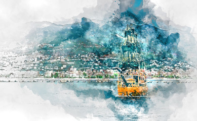 Digital watercolour. Touristic ship and Alanya city. Turkey