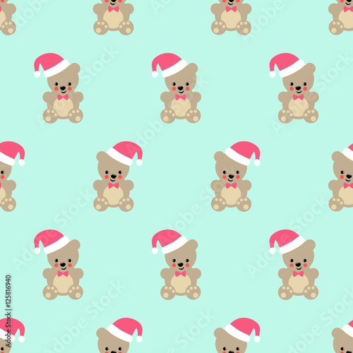 Teddy Bear With Santa Hat Seamless Pattern Cute Vector Baby Design For