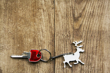 christmas keyring in shape of reindeer