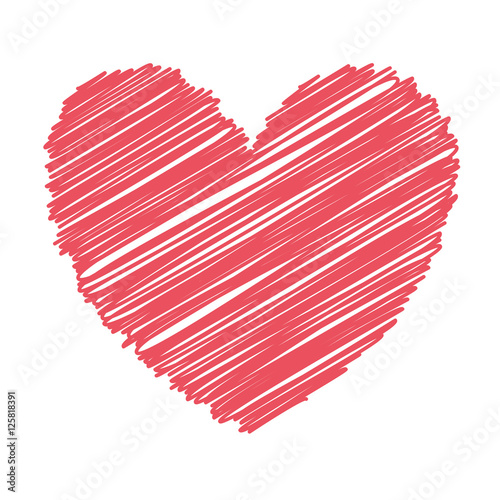 Red Heart Icon Over White Background Love Symbol Sketch And Draw
