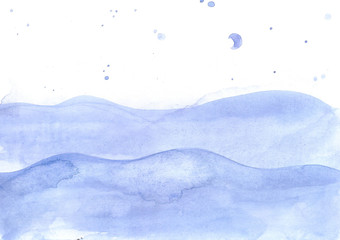 Watercolor sea calm waves background, ocean with blue drops