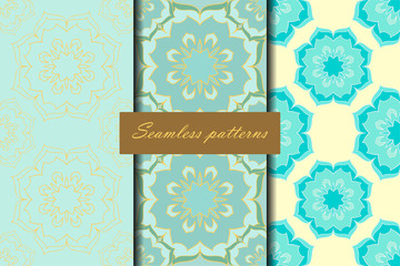Set of three seamless patterns with floral mandalas in beautiful turquoise colors. Vector background