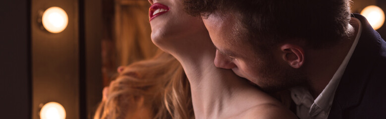 Sensual kiss on the neck