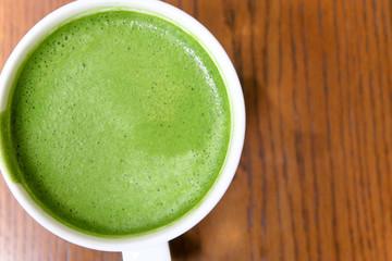 Close up Greentea matcha latte background