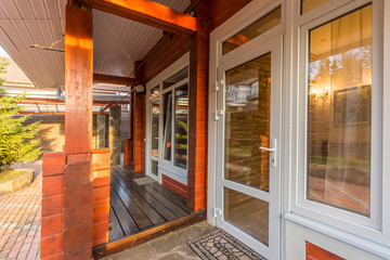 Entrance into a wooden house