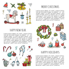 Hand drawn sketchy Merry Christmas symbols set. Doodle vector illustration elements: Candles, gift boxes, wreath, christmas tree, candy, canes, bells, Happy Holidays! Xmas! Happy New year! Holly Jolly
