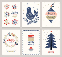 Merry Christmas greeting cards templates. Vector illustration.