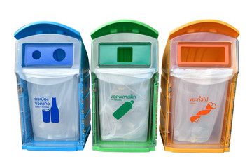 classify bins for recycle,Thai Language yellow is general waste,
