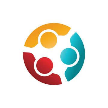 Three Happy Confident People in a Round Meeting. Colorful Logo I