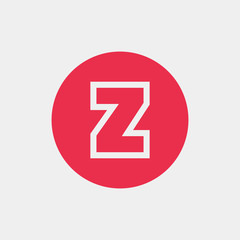 Letter Z vector, logo. Useful as branding symbol, identity, alphabet element, circle app icon, clip art and illustration.