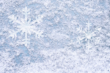 Christmas background texture snow light blue background with snowflakes.