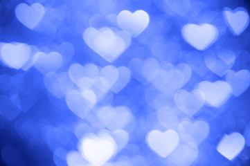 blue heart bokeh background photo, abstract holiday backdrop