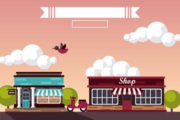 Street. landscape. Design website. shop and market. vector illustration.