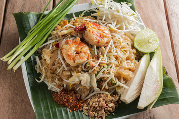 Pad-thai traditional food and Fresh vegetables in thailand.