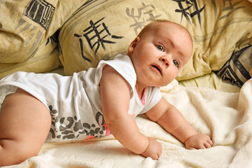 on all fours baby crawling photo. Beautiful picture, background,