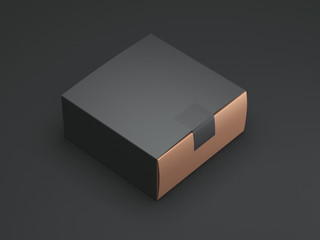 Black Gold Box with black sticker and cover. 3d rendering