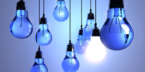Idea concept, Hanging light bulbs with glowing one isolated on dark blue background.3d rendering