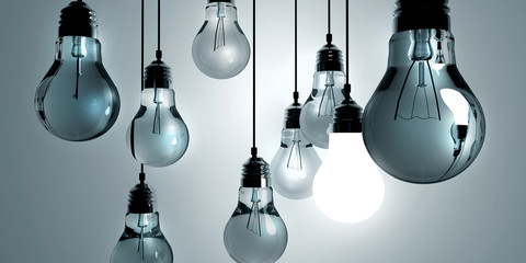 Idea concept, Hanging light bulbs with glowing one isolated on dark blue background . 3d rendering