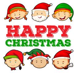 Christmas card design with santa and elf