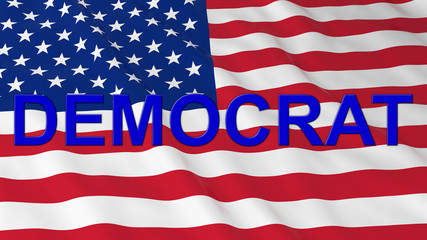 US Elections - American Flag with Blue Democrat Text 3D Illustration