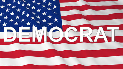 US Elections - American Flag with White Democrat Text 3D Illustration
