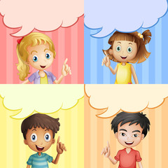 Children with speech bubble templates