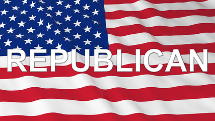 US Elections - American Flag with White Republican Text 3D Illustration