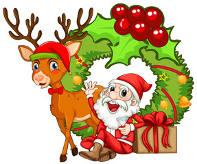 Christmas theme with Santa and reindeer