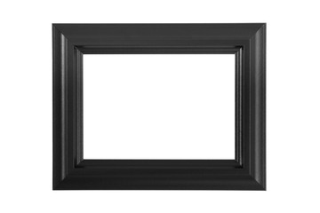 Black picture frame isolated on white.