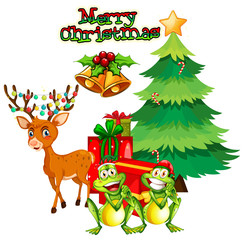 Christmas theme with reindeer and frogs