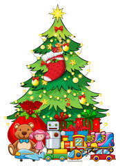 Many toys under Christmas tree