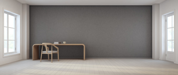black and white wall in vintage room, home office - 3d rendering