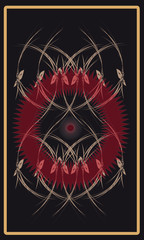 Tarot cards - back design, Red Sun