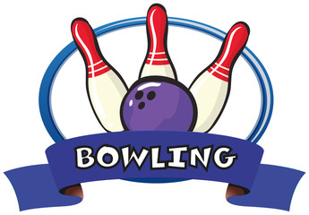 Logo design with bowling pins and ball