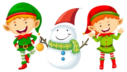 Two elves and snowman
