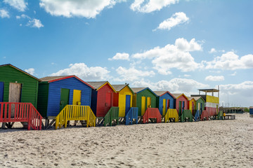 Beachhouses at Muizenberg Beach, Cape Town, South Africa
