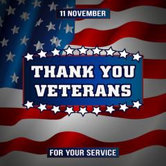 Спасибо ветераны. Иллюстрация, плакат, открытка. Праздник, американский флаг, редактируемый файл.