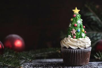 Homemade Christmas cup cake tree