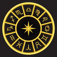 circle golden zodiac symbols on golden ring frame , set of flat zodiac signs