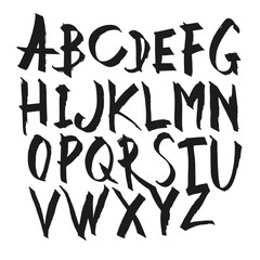 Hand Drawn Calligraphy Alphabet. Uppercase letters. Vector alpha