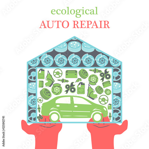 eco car repair services concept with car icons and spare parts in the garage in the stretched. Black Bedroom Furniture Sets. Home Design Ideas