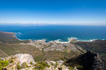 View of top of Table Mountain ins Cape Town, South Africa