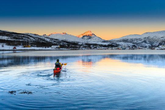 Canoe, sunrise. Tromso