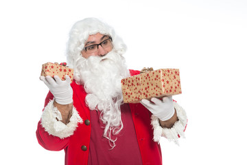 Portrait of happy Santa Claus holding  Christmas gifts