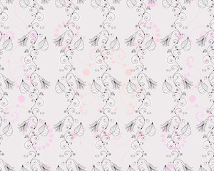 Vector floral seamless background. Bells and bugs. Ladybugs and spiders. Easy to change colors.