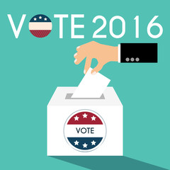 Presidential Election Day Vote Box. American Flag's Symbolic Ele