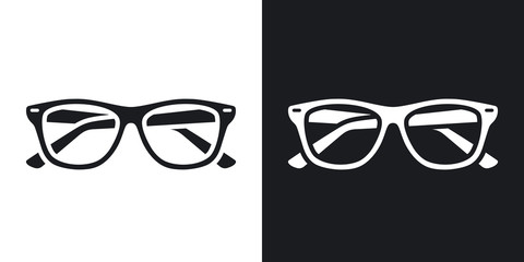 Two-tone version of Glasses simple icon on black and white background